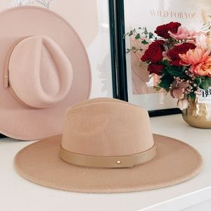 Tan wide brim fedora hat